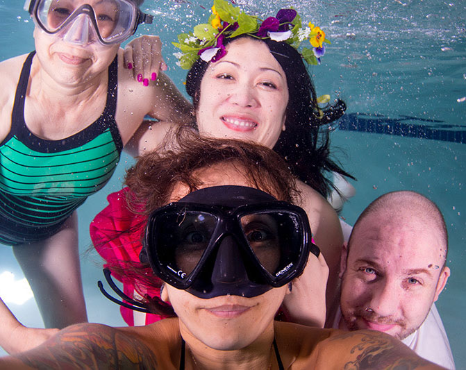 My mom gained courage to try aqua fitness after my sister's photo shoot